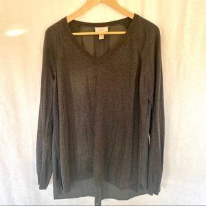 Gray LOFT Sweater with Sheer Back Size L